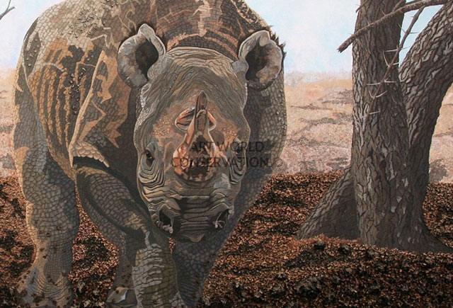 Black Rhinoceros & Calf painting
