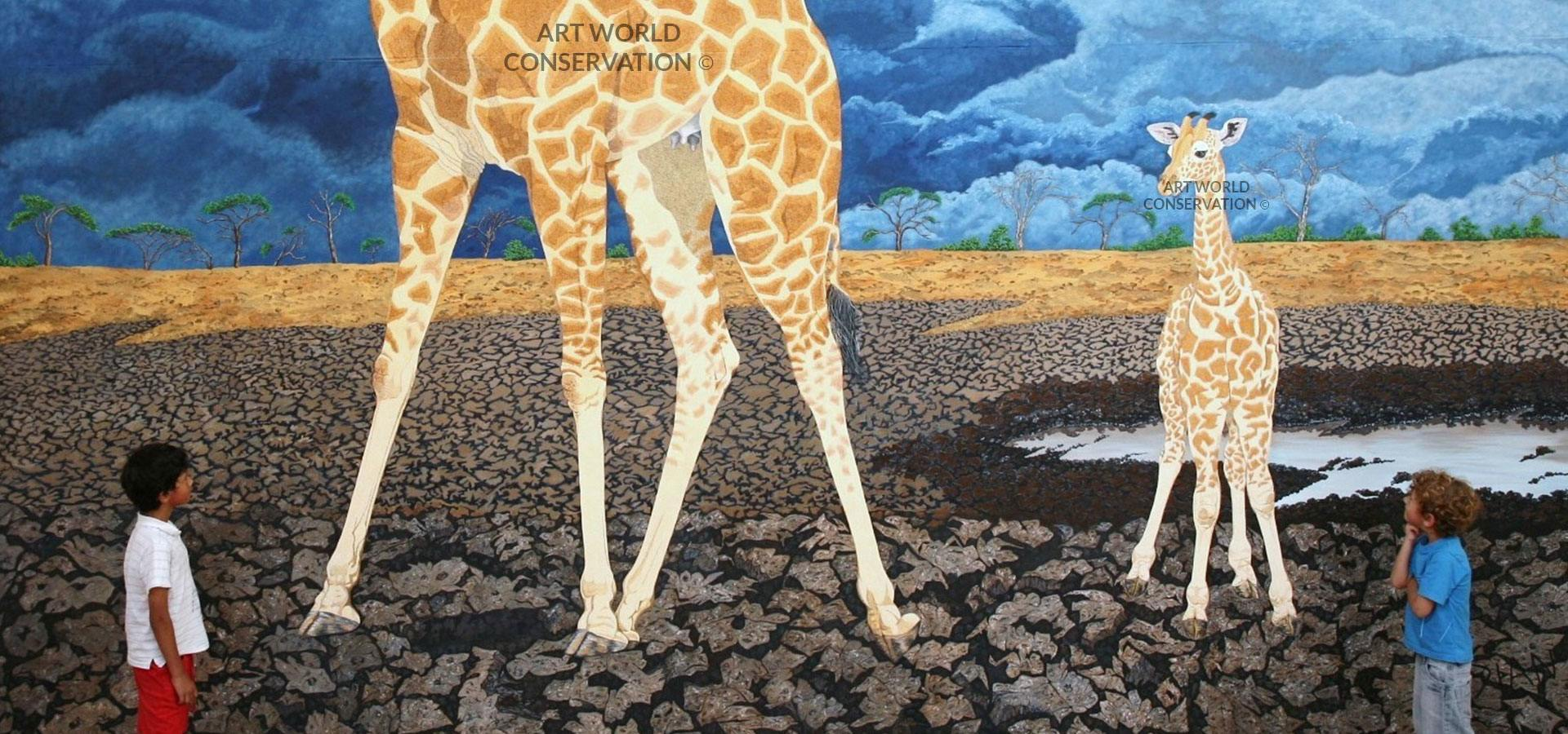 Giraffe and Calf Wildlife Art