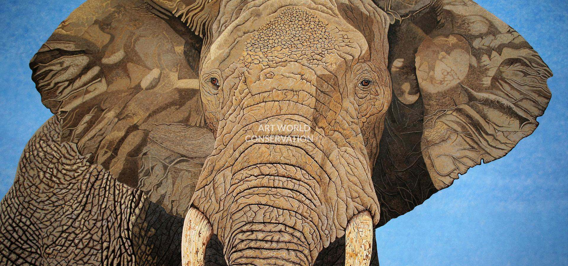 African Bull Elephant Wildlife Art