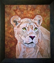 Katanga Lioness Portrait 77cm x 66cm on canvas signed by Virginia McKenna.jpg