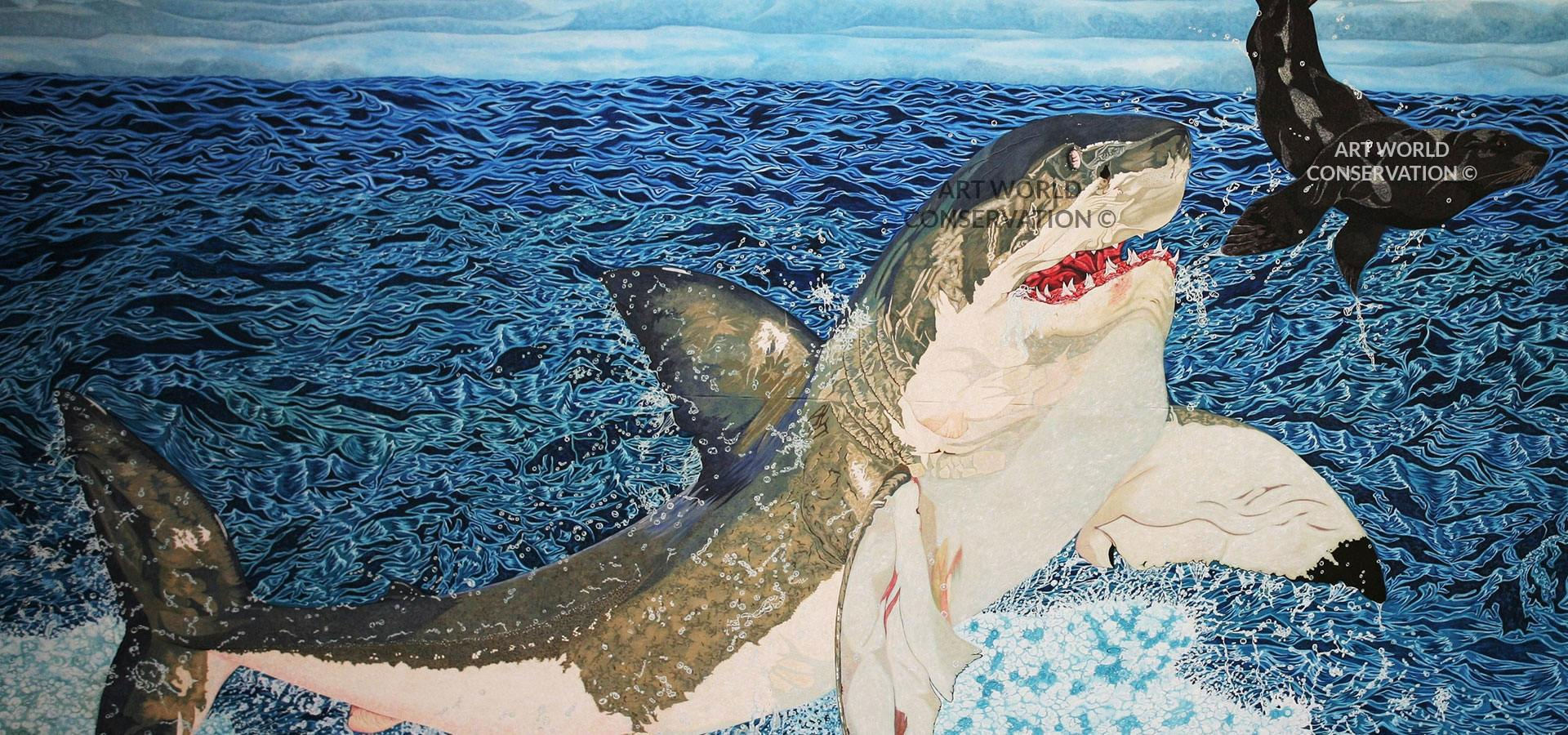 Great White Shark and Fur Seal Wildlife Art