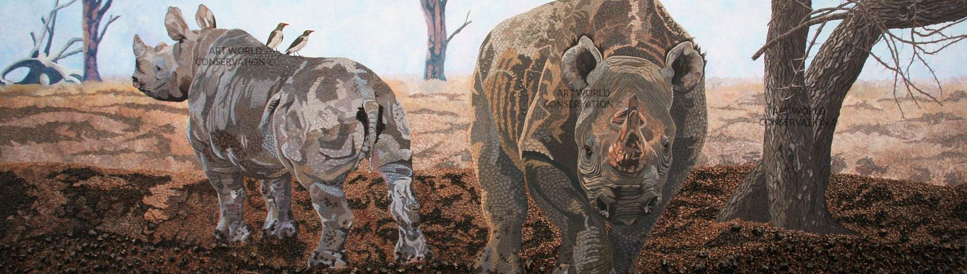 Rhinos Wildlife Art