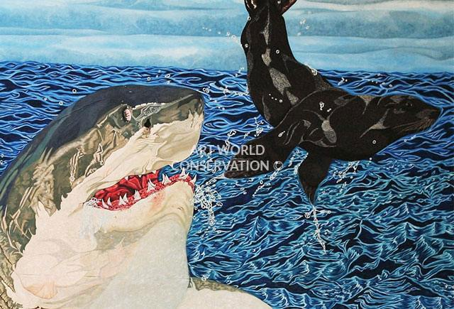 Great White & Fur Seal painting