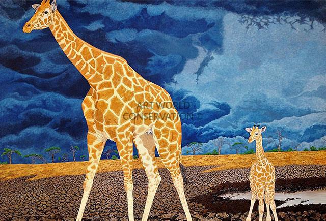 Rothschild's Giraffe & Calf painting